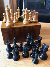 Large Jaques Staunton Chess Set And Box, Rare Post 1943, Black Boxwood Not Ebony