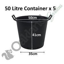 5 x 50 Litre Plant Tree Pot With Handles Heavy Duty 50L Lt Big Large Plastic