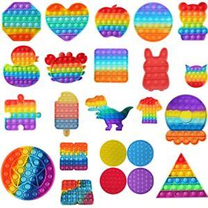 Push Pop Bubble  Silicone Sensory Fidget Rainbow Toy Autism Stress Relief Game