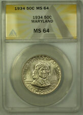 1934 Maryland Commemorative Silver Half Dollar 50c Coin ANACS MS-64