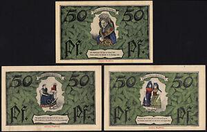 1921 Erfurt Germany Notgeld Lot 3 Rare Emergency Money Banknote Complete Set
