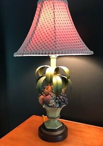 """Table Lamp Fruit in Urn Resin or Ceramic with Metal Leaves Red Gingham Shade 26"""""""