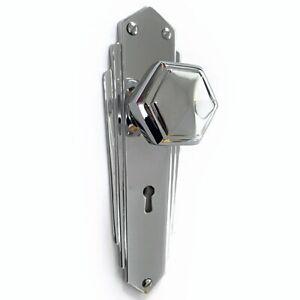 Pr of 1930`s Art Deco Reproduction Chrome Hexagonal Door Knobs & Backplates PCP2