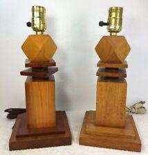Vintage Wooden Stack Geometric Lamp Bedside Mid Century Modern Pair Set of 2