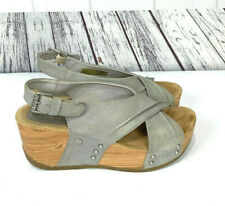 Bussola Formentera Size 38 Wedge Leather Slingback Sandals Vapor Gray