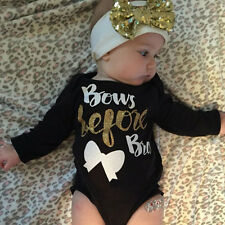 2Pcs Newborn Baby Girl Letter Long Sleeve Romper+Headband Outfits Clothes
