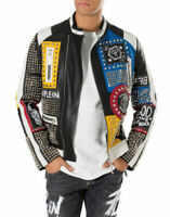 New Philipp Plein Multicolor Full Studded Embroidery Patches Leather Jacket Men