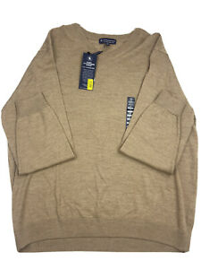 Hart Schaffner Marx Mens Sweater Long Sleeve V-Neck XL Tan Hthr Merino Wool NEW