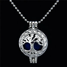 """KK23 Silver Tree Locket Necklace / Tree Pearl Beads Cage Chain 16"""""""