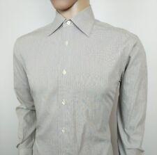 Ermenegildo Zegna Mens Dress Shirt Brown White Narrow Stripe Sz 3 M New RRP£245