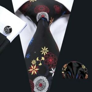 100% Pure Silk Tie Cuff-links & Handkerchief Set Black with Red Blue Gold Silver
