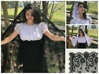 Wrapped in His Grace - Veils and Wraps church mantilla white black ivory