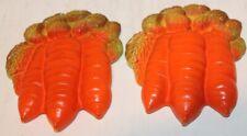"2 Vintage Chalkware Carrots - 6"" Tall - Wallhanging - Euc"