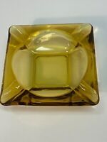 Vintage Mid-Century Modern Amber Square Glass Cigarette Cigar Ashtray 4 slot