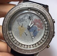 Mens 54mm Techno Com Kc Colored Simulated Diamond Watch World Map Face Red Globe