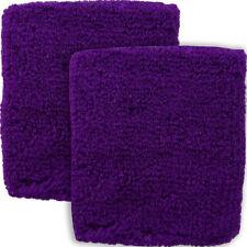 Pair of Purple Wrist Sweatbands Aerobics Running Tennis Squash Sport Wristbands