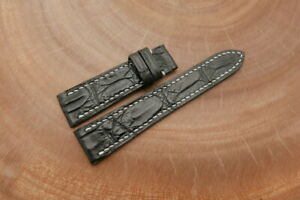 19mm/16mm Black Genuine CROCODILE,ALLIGATOR Leather Watch Strap Band