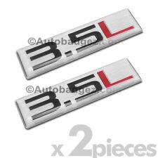 2- BRAND NEW 3.5 L aluminum embossed badge emblem decal (Silver 3.5L SM REC)