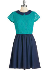 Modcloth Bea & Dot Navy & Turquoise  Lace Bodice Dress with Pockets Size L NWOT
