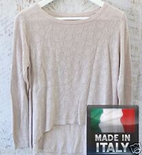Dagny Cut Out Asym Hem Beige Knit Relaxed Fit Top - Made in Italy IA-0283