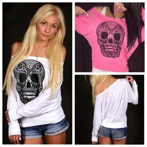Off Shoulder Fashion Tops Autumn Women T Shirt Skull Printing Batwing Sleeve
