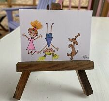"""ACEO ORIGINAL Miniature Art By PJR """"Dancing With A Doxie"""" Dachshund Dog Painting"""