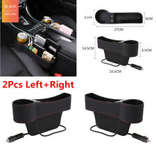 2Pcs PU Leather Car Seat Gap Storage Box Organizer Pocket Dual USB Cup Holder