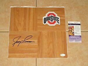 Jerry Lucas signed Ohio State Buckeyes HOF Floorboard JSA New York Knicks