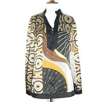LuLu's Italian Fashion Womens Top Size M Tunic Pullover V-Neck Long Sleeve Brown