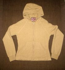 LUX!ADORABLE JUICY COUTURE  PURE CASHMERE ZIP JUMPER HOODED SWEATSHIRT