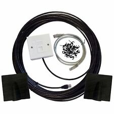 40m Cat6 Exterior al aire libre Cable De Red Ethernet Kit de Extensiones de la placa frontal Caja
