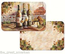 Reversible 4 Set Placemats, TUSCAN PINOT,Wine Bottles, Glasses, Grapes USA Made
