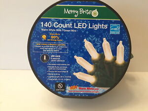 Merry Brite 140 Count Led Lights White Bulb/green Wire New Never Used