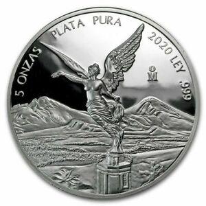 Mexico 2020 5 oz Silver PROOF LIBERTAD, very scarce. Mintage of 2,950 pcs.