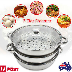 Stainless Steel 3 Tier Steamer Induction Steam Steaming Pot Kitchen Cookware AU