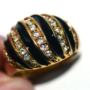Big Womens Black Rings Jewelry Gold Ring Crystals Fashion Rings Party Size 9