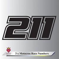 3 x Race Numbers Custom Motocross MX Dirt Bike Pit Bike Decals Any Colour