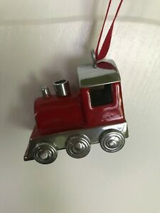 Pottery Barn Red Silver Train Collectible Rare Christmas Ornament NWP