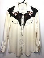 H BAR C California Ranchwear Embroidered Longtail Western Snap Shirt Large