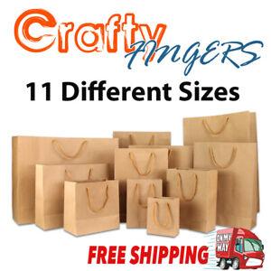 10-50 BULK BROWN KRAFT CRAFT PAPER GIFT CARRY BAGS Paper HANDLES 11 sizes