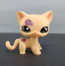 Littlest Pet Shop LPS 1962 Cat Yellow Purple Flower Short hair Green Eye FromUSA