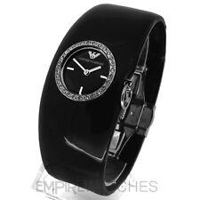 * nuevo * señoras Emporio Armani Negro Brazalete Reloj-ar0739-RRP £ 189