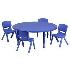 KIDS 45'' ROUND ADJUSTABLE BLUE PLASTIC ACTIVITY TABLE SET WITH 4 STACK CHAIRS