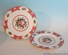 """Royal Albert Lady Carlyle Dinner Plates 10.5"""" Set of 2 England Pink Roses"""
