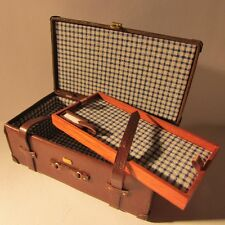 Trunk/Suitcase ~ LEATHER ~ LINED ~ WORKING STRAPS ~ Doll House Miniature ~ 1:12