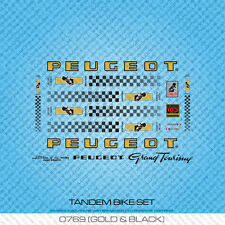 Peugeot Tandem Bicycle Decals - Transfers - Stickers - Gold & Black - Set 769