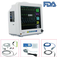 "Portable 12"" Vet 6-Parameter Patient Monitor Vital Signs NIBP SPO2 ECG TEMP RESP"