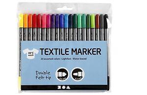 20 Textilmalstifte, Textilstifte Textilmarker Marker dünner und dicker Spitze