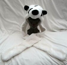 White Panda Costume Plush Snood Long Hoodie Beanie with Hand Warmers-Brand New!