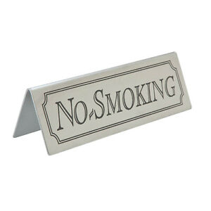Stainless Steel No Smoking Sign Table Signs Table Top Bar Pub Restaurant Cafe